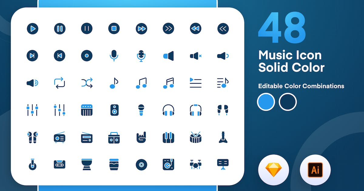 Download Music Solid Color Icon Set by sudutlancip