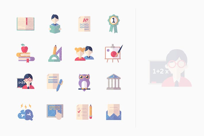 Thumbnail for Education Icons Set 2 - Flat Series