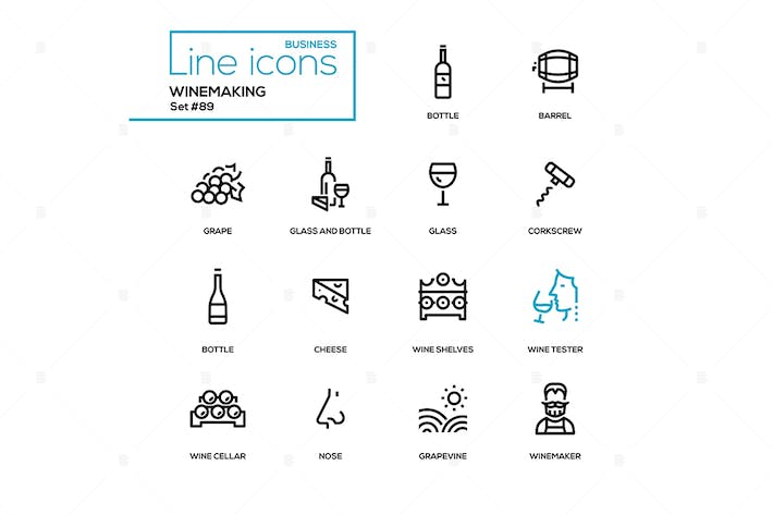 Thumbnail for Winemaking - modern line design icons set