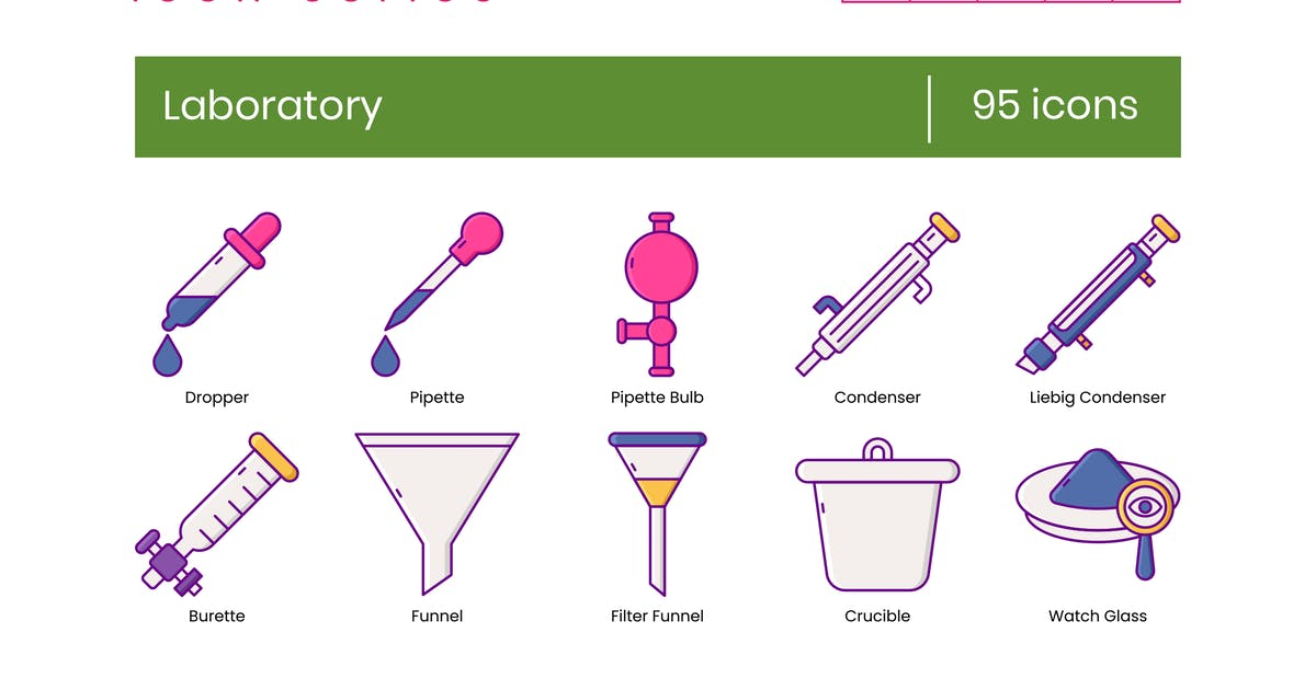 Download 95 Laboratory Icons - Wildberry Series by Krafted