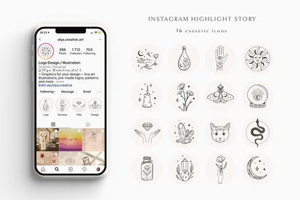 Hand Drawn Instagram Highlight Story.