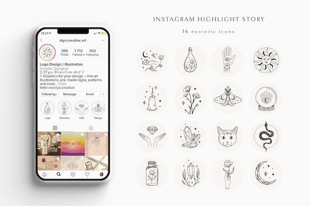 Hand Drawn Instagram Highlight Story.