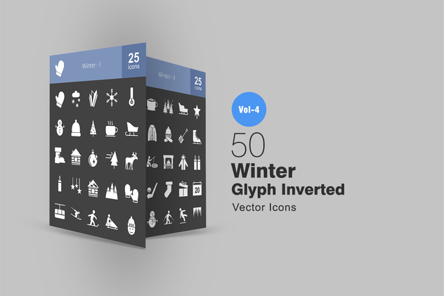 50 Winter Glyph Inverted Icons