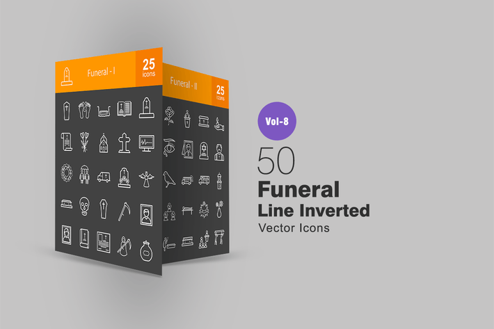 Thumbnail for 50 Funeral Line Inverted Icons