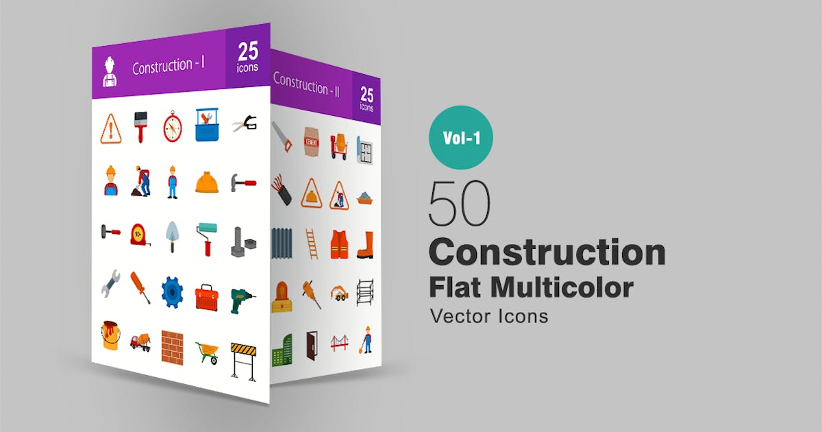 Download 50 Construction Flat Multicolor Icons by IconBunny