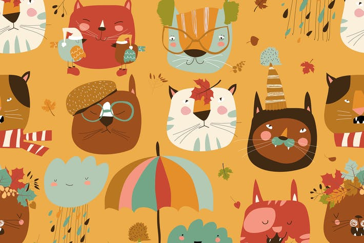 Vector seamless pattern with muzzles cats and autu
