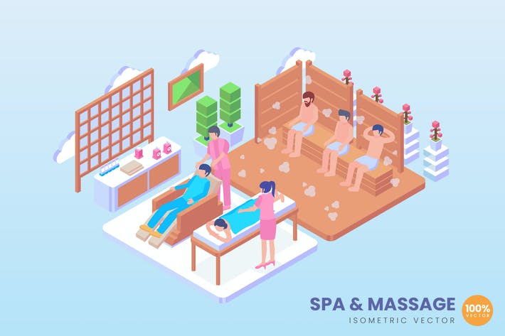 Thumbnail for Isometric Spa And Massage Vector Concept