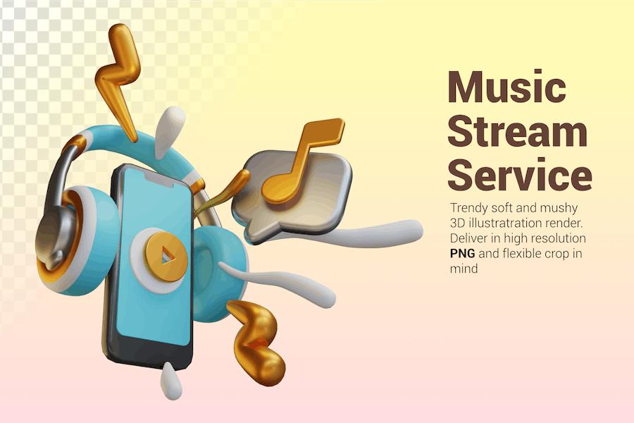 Music Stream Service 3D Graphic