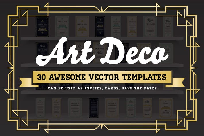 Thumbnail for Art Deco 30 Awesome Vector Templates