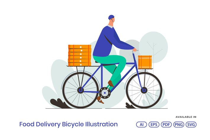 Thumbnail for Food Delivery Bicycle Illustration