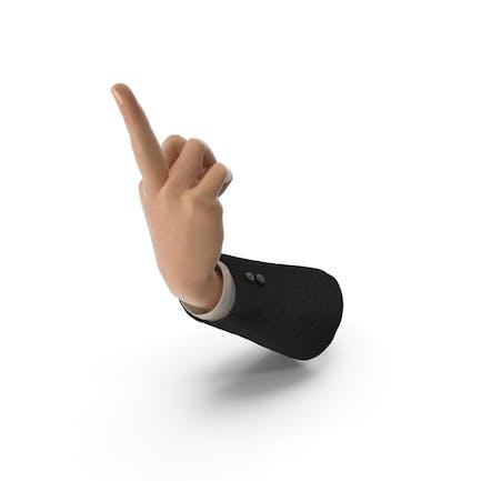 Traje de mano dando el dedo