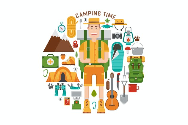Camping Time Circle Print with Hiking Icons