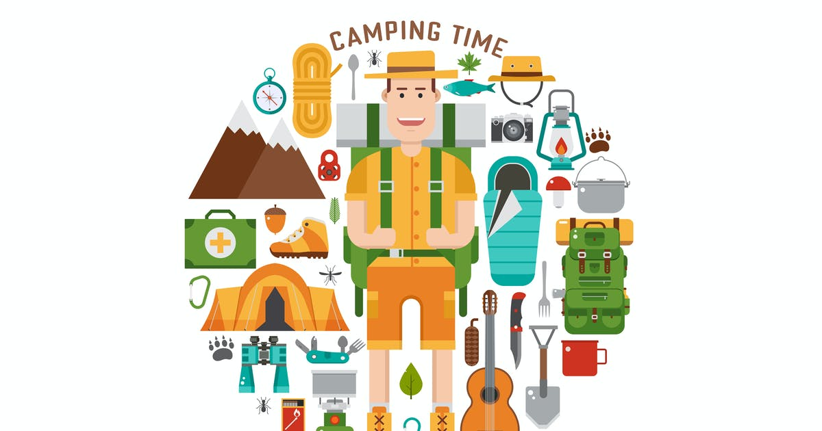 Download Camping Time Circle Print with Hiking Icons by krugli