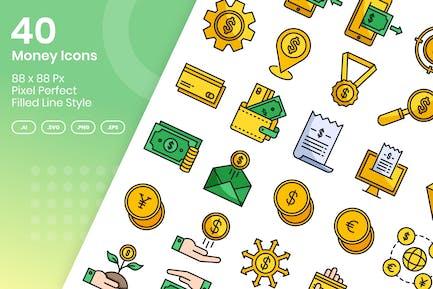 40 Geld-Icons Set - gefüllte Linie
