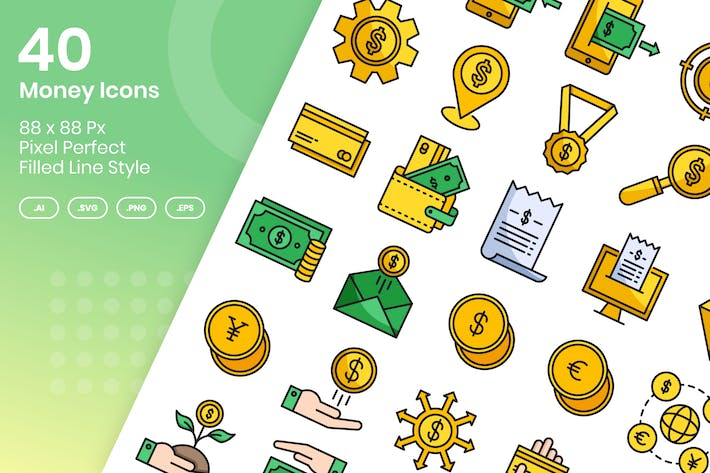 Thumbnail for 40 Money Icons Set - Filled Line