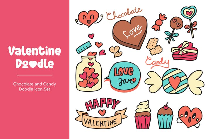 Thumbnail for Valentine Chocolate and Candy Doodles