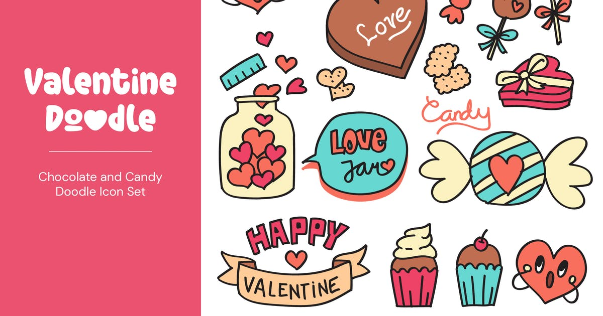 Download Valentine Chocolate and Candy Doodles by TanahAirStudio