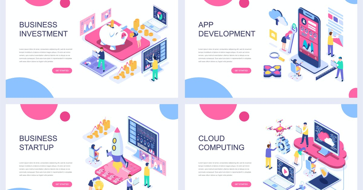 Download Landing Page Templates Isometric Concept by alexdndz