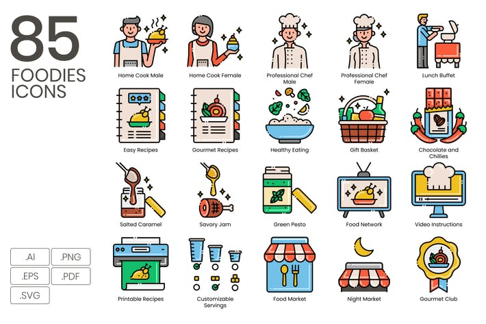 Thumbnail for 85 Foodies Line Icons