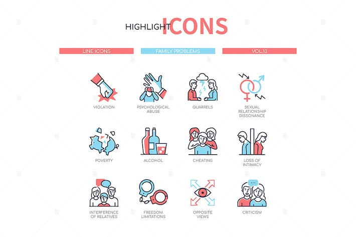 Thumbnail for Family psychological problems - line icons set
