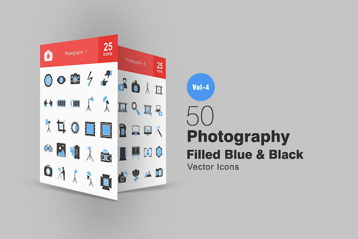 Thumbnail for 50 Photography Blue & Black Icons