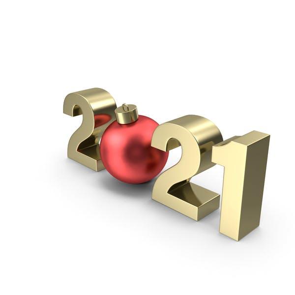 Золотой символ 2021 с красным рождественским балом