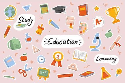 Schule und Bildung Cute Stickers Set