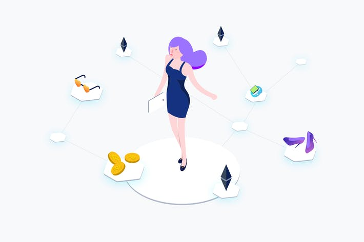 Thumbnail for Blockchain Ecommerce Isometric Illustration