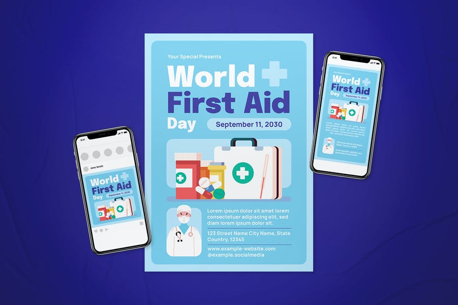World First Aid Day Flyer Set