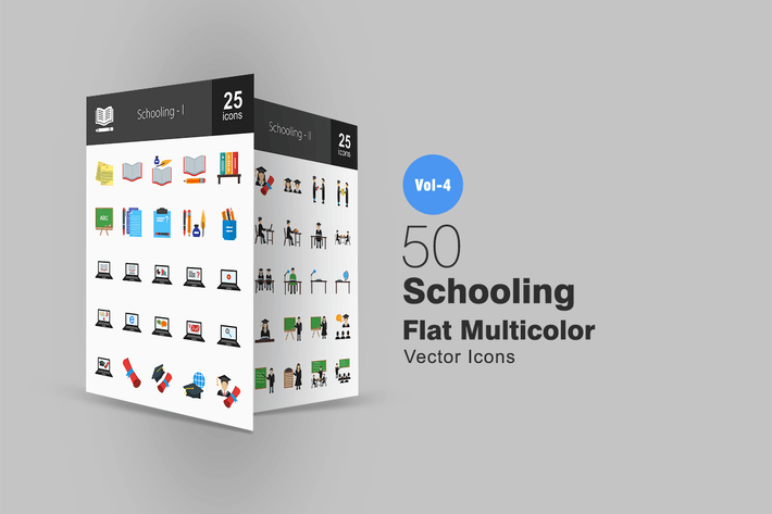 Thumbnail for 50 Schooling Flat Multicolor Icons