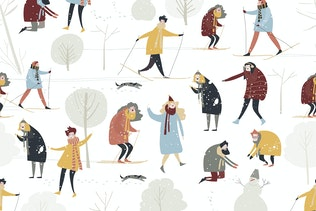 Seamless pattern with people enjoying
