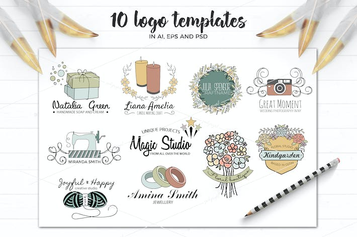 Vector logo templates in AI and PSD by switzergirl on Envato Elements