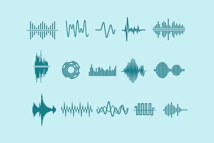 15 Audio Wellenform-SIcons
