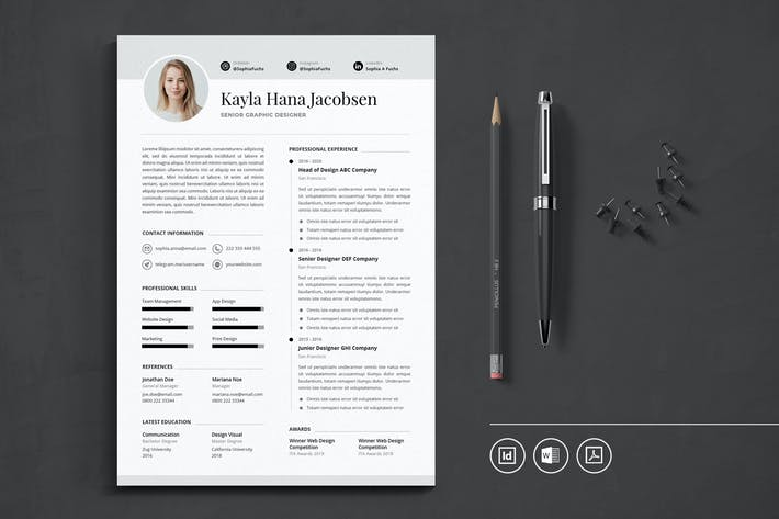 Thumbnail for Professional CV Resume Indesign Template Vol.50