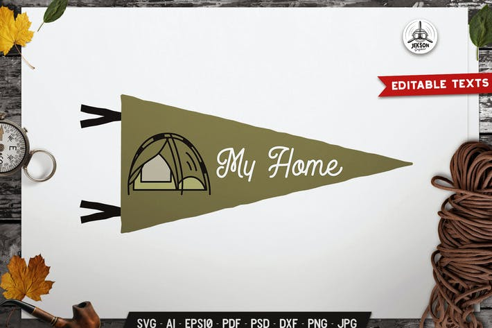 Thumbnail for Tent Is My Home Pennant Label Badge Retro Design