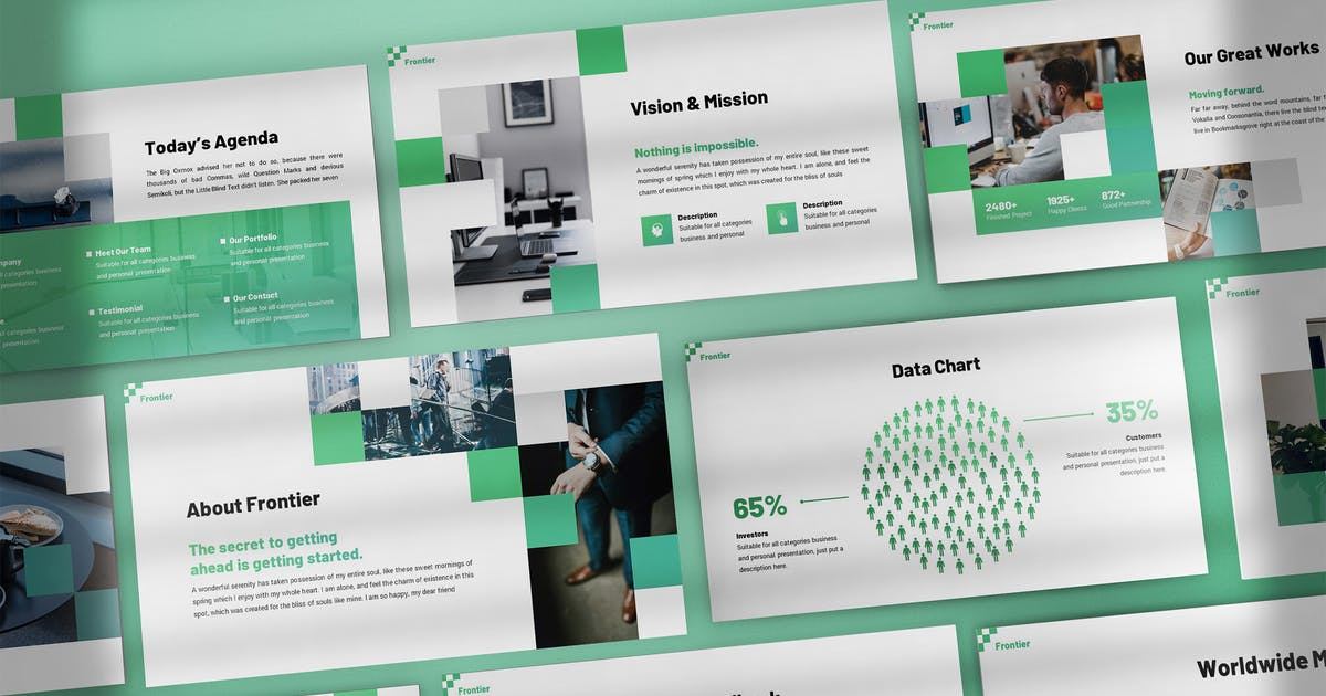Download Frontier - Pixelated Keynote Template by SlideFactory