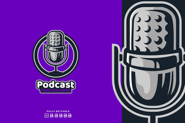 Thumbnail for Podcast Mic Broadcast Logo