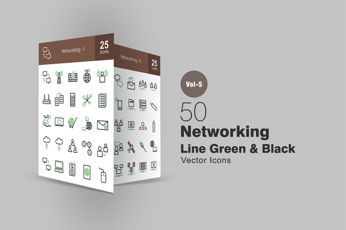 50 Networking Line Green & Black Icons
