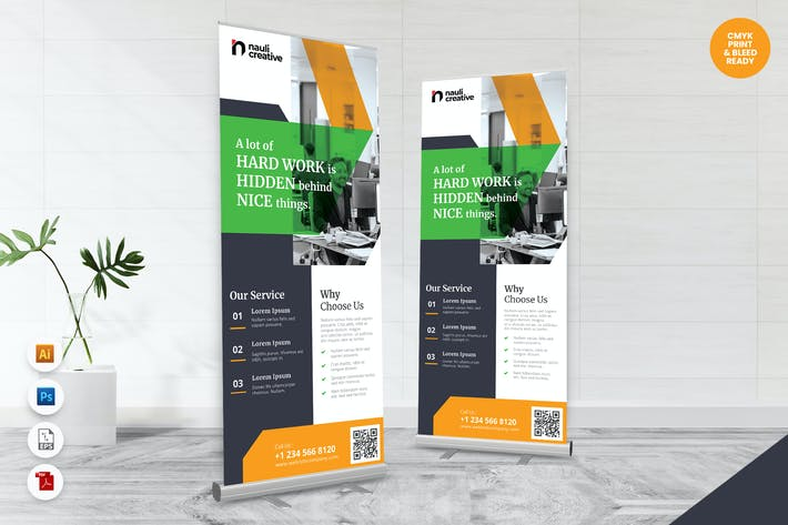 Creative Roll Up Banner AI & PSD Template Vol.28