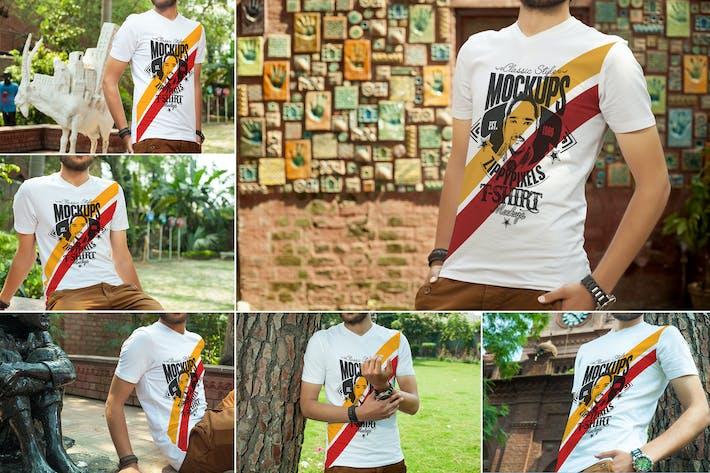 Thumbnail for Stilvolle V-Ausschnitt T-Shirt-Mockups