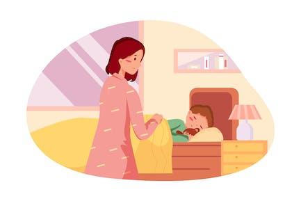 Schläfriges Baby im Bett
