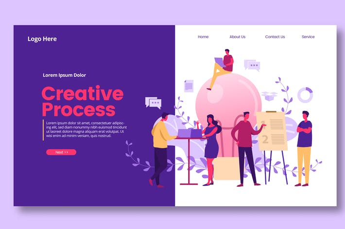 Thumbnail for Creative Discussion Illustration  - Landing Page