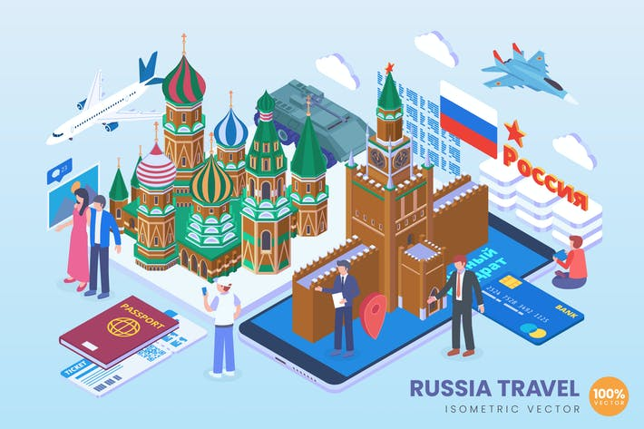 Thumbnail for Isometric Russia Travel Holiday Vector Concept