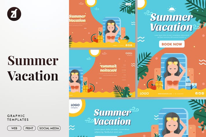 Thumbnail for Summer Vacation Graphic Templates