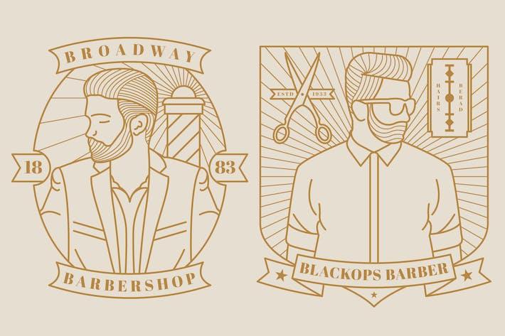 Thumbnail for 2 Barber Monoline Logo Badge