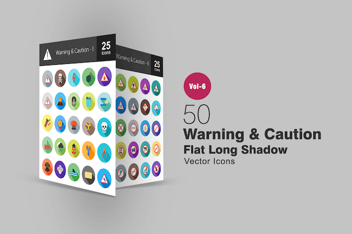 Thumbnail for 50 Warning & Caution Flat Shadowed Icons