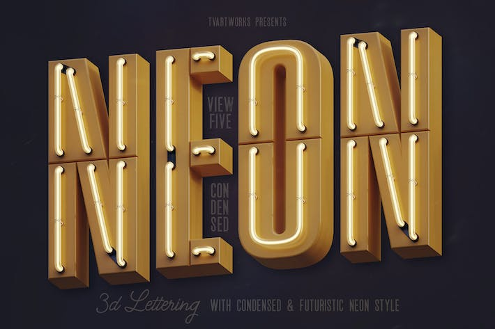 Thumbnail for Condensed Neon 3D Lettering View 5