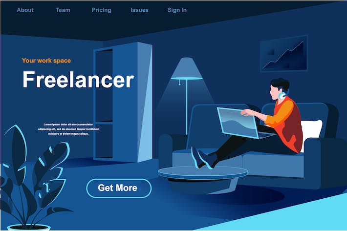 Thumbnail for Freelance Job Isometric Web Page Flat Concept