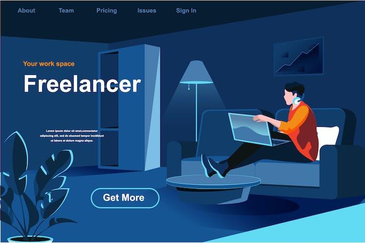 Thumbnail for Freiberufler Job Isometrische Webseite Flat Concept