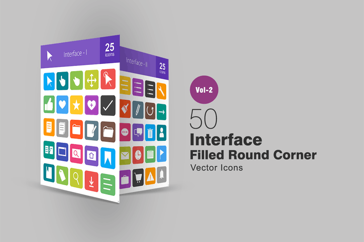 Thumbnail for 50 Interface Filled Round Corner Icons